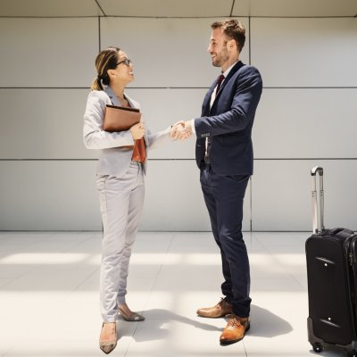 Handshake Greeting Corporate Business Travel People Concept